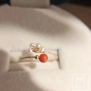 Italian Red Coral and All Natural Pearl Ring in 14K Gold Filled