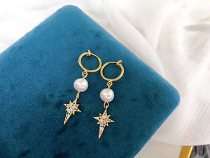Pearl Non Pierced / Clip On Star Earrings