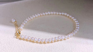 All Natural White Pearl Bracelet Adjustable In Size