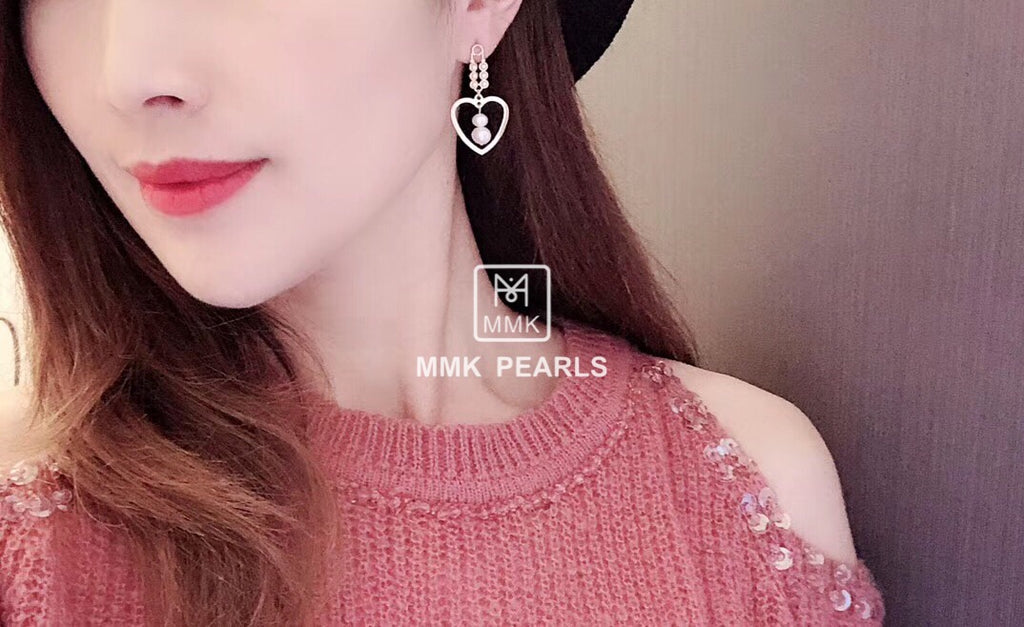 Double-Pearl Heart Shape Drop Earrings