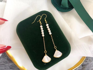 Mother-Of-Pearl Fan and 5-Pearl Long Statement Earrings