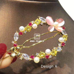 Handmade Crystal & Authentic Pearl Hair Pin Barrette Flower Design