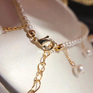 14K Gold Filled White Pearl Anklet Adjustable in Size
