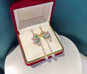 Colorful Butterfly Zirconia and Pearl Drop Earrings