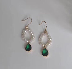Emerald and Pearl Drop Earrings