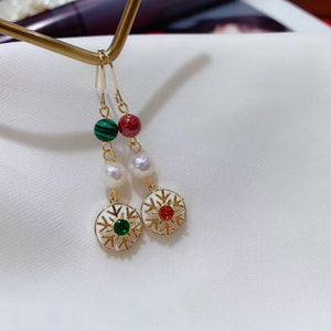 Christmas Snowflake Malachite and Pearl Statement Earrings