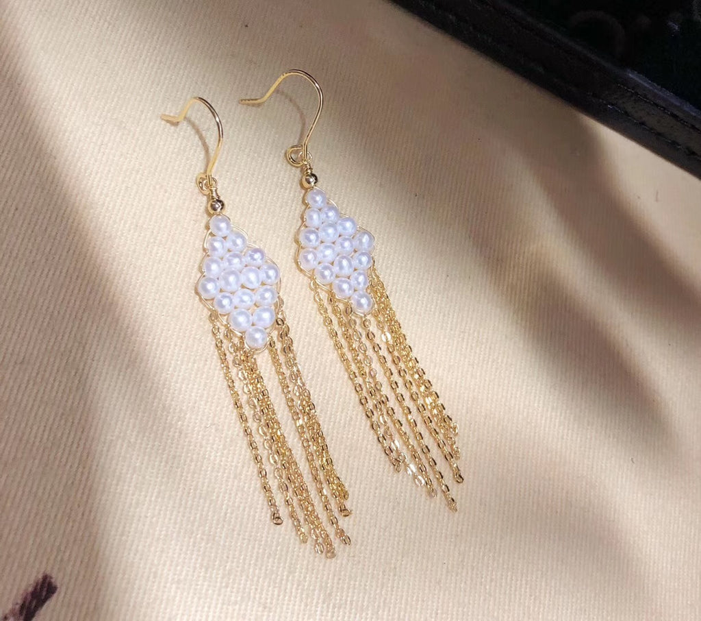 Diamond-Shaped Handmade Pearl Earrings