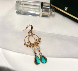Green Teardrop Zirconia Drop Earrings