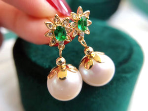Lab-Created Emerald Gemstone Studs Drop Earrings