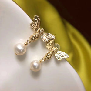 Honey Bee All Natural Pearl Earrings