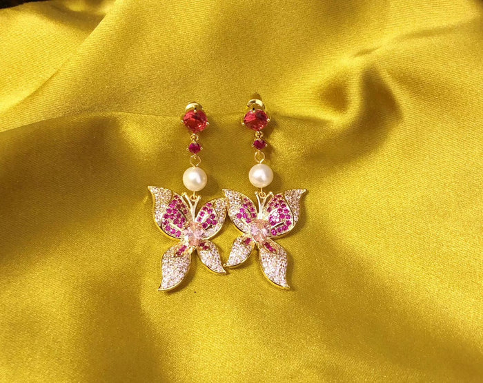 Lab-Created Red Ruby Butterfly Earrings