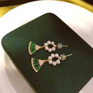 Handmade Green Fan & Hoop Pearl Earrings