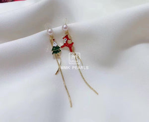 Christmas Tree and Reindeer Statement Earrings