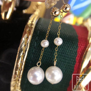 Double-Pearl Drop Earrings 14K Gold Filled