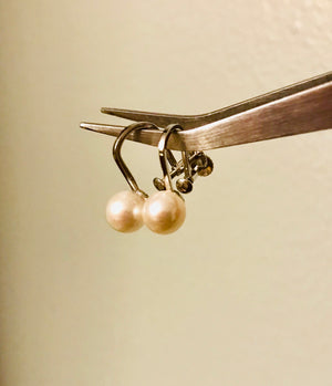 Silver and Pearl Non Pierced / Clip on Earrings