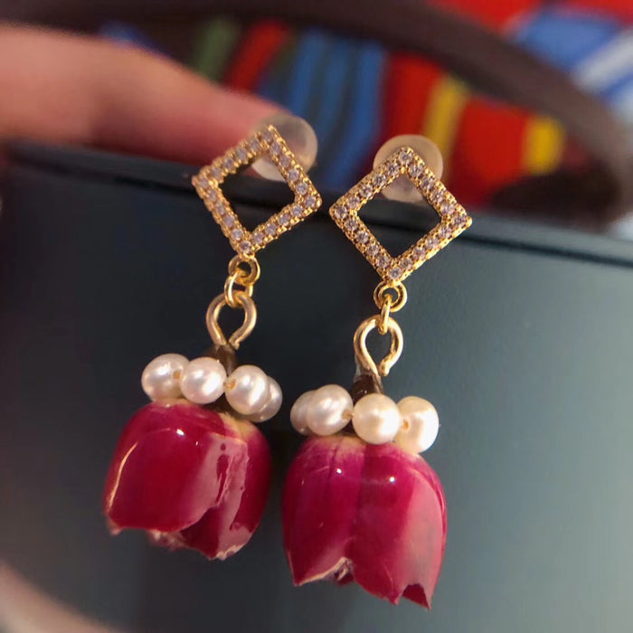 Pearl and Red Rose Earrings In 14K Gold Filled