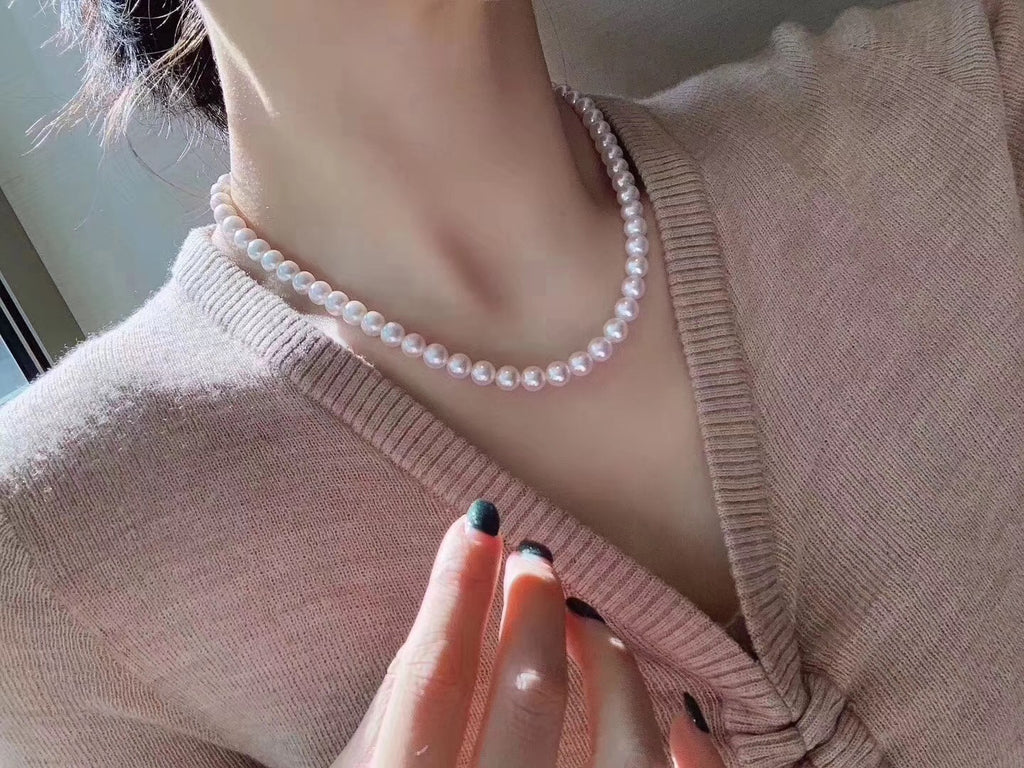 8-9mm Japanese Akoya Pearl Single String Necklace