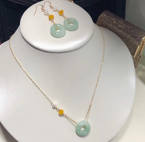 Lucky Jade and Pearl Pendant and Earrings Set