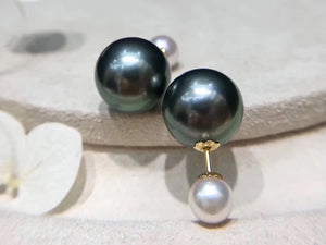 18K Gold Tahitian and Japanese Akoya Pearl Front-Back Double Sided Studs Earrings