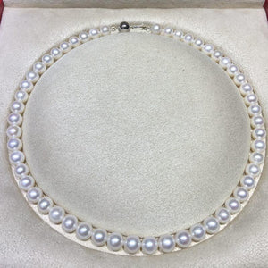 "AAAAA Natural White Pearl (9-10mm) Collar 18"" Necklace by MMK"