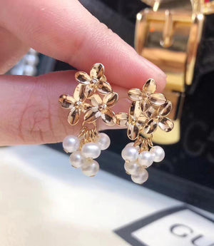 Grapevine Inspired 18K Gold Plated Pearl Earrings