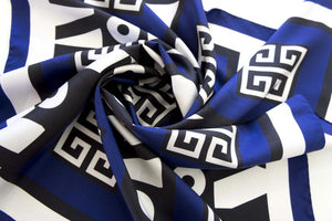 KEY SUN AEGEAN - Silk Twill Digital Printed Square Scarf