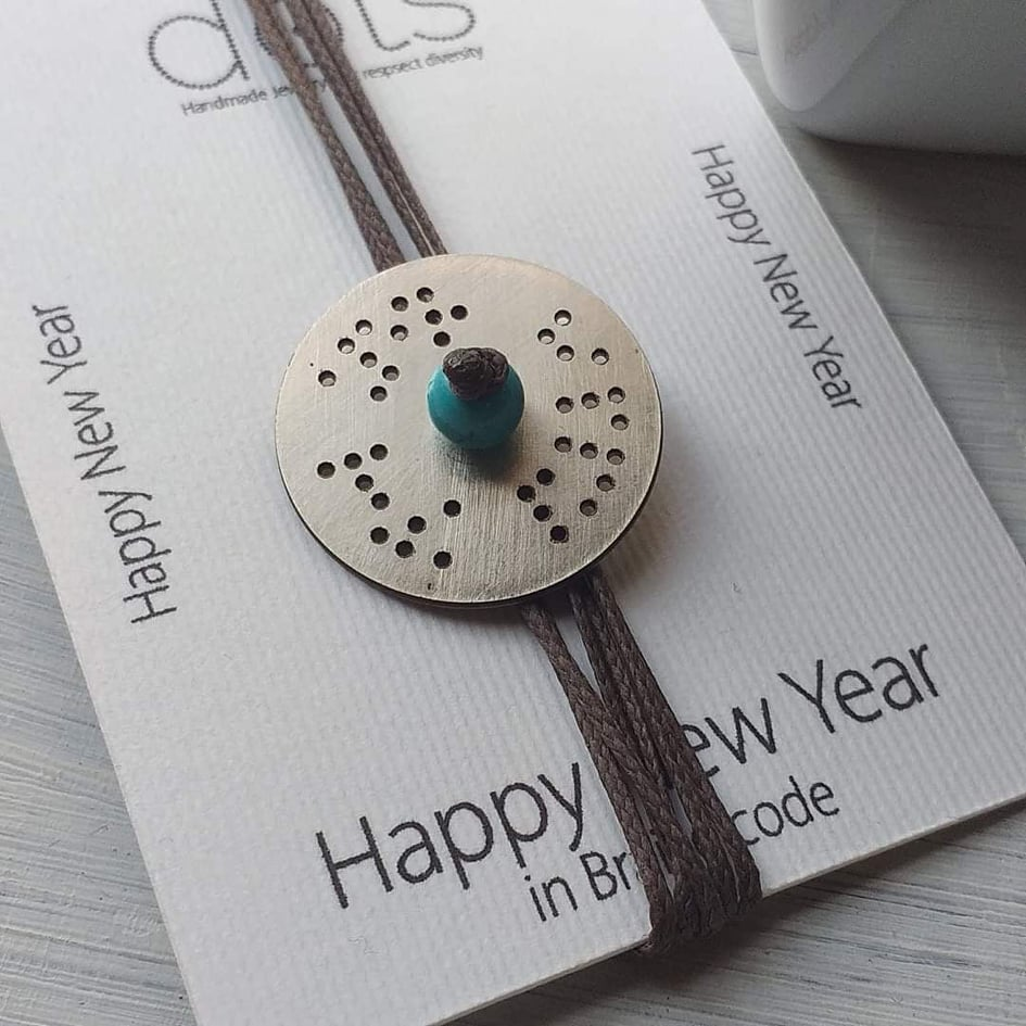 Lucky Charm HAPPY NEW YEAR Necklace in Braille by Dots. Art for all