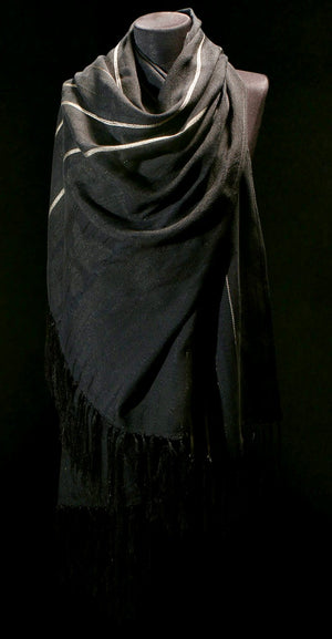 LOOM% | Black Handwoven Shawl with Silver Stripes