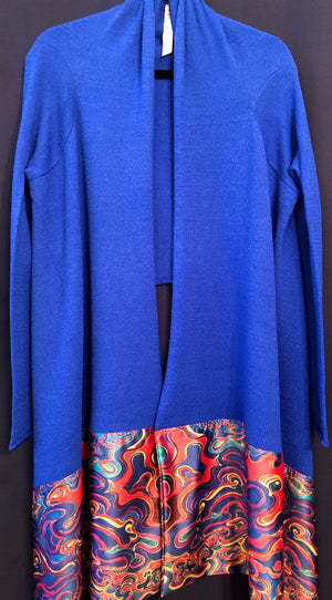 Flowing Cardigan with Printed Satin Border | by AMARIS