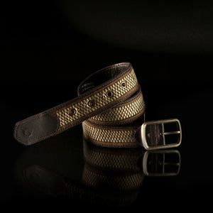 Loom% | Handwoven Men's Belt - Cream and Chocolate Brown