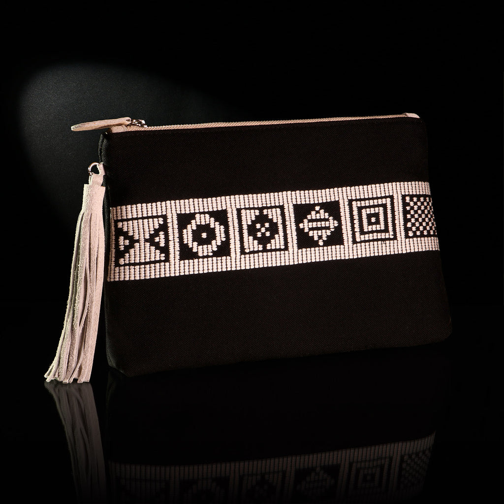 Loom% | handwoven envelope bag - black with white geometric pattern