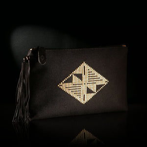 Loom% Bag | handwoven BLACK envelope with gold diamond pattern
