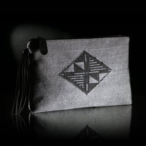 Loom | handwoven GREY envelope bag with BLACK woven center diamond.