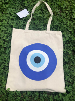 Evil Eye Cotton Canvas Tote Bag | Thiki Greece