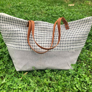 Textured Handmade Cotton Shoulder Bag | by Myrto Arvaniti