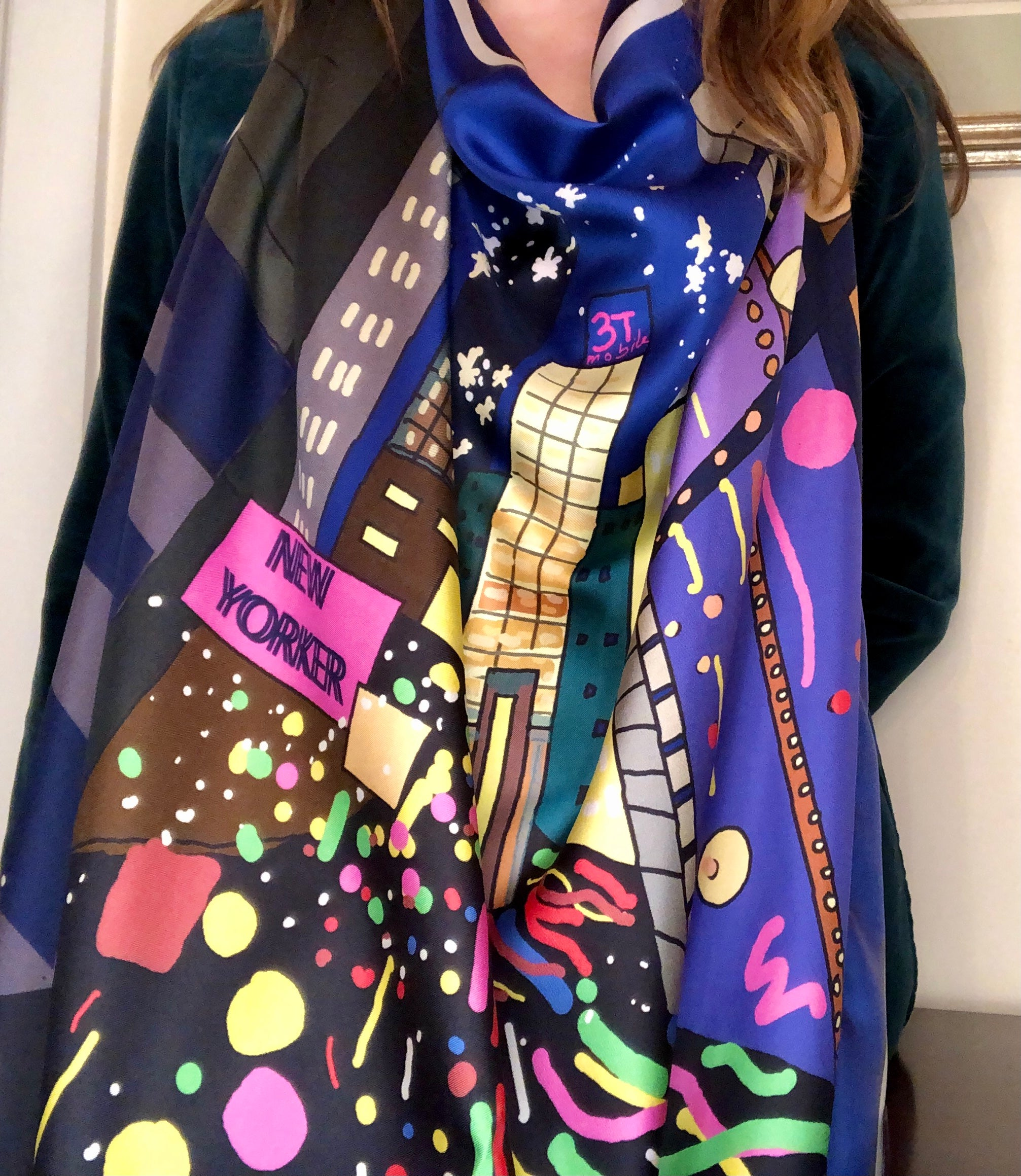 New Year/New Yorker Printed Silk Twill Scarf | by MAGNADI