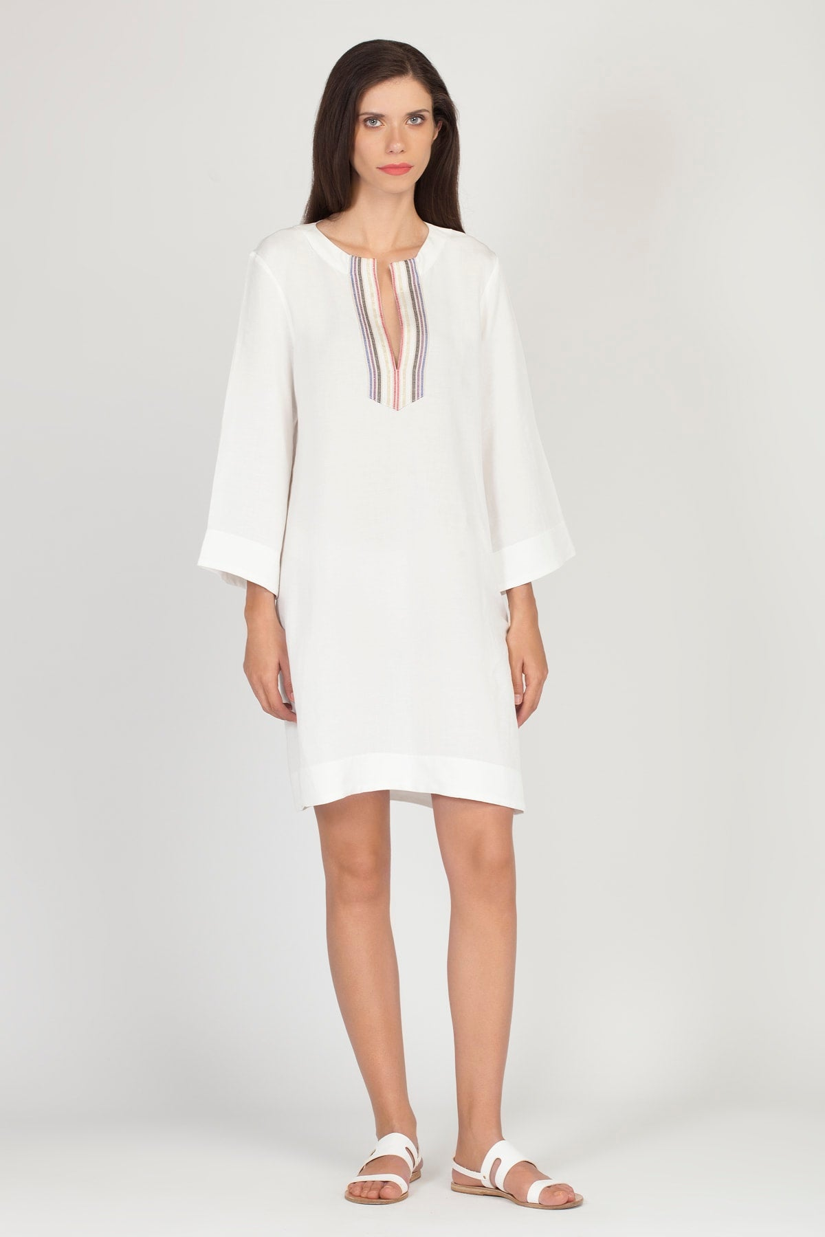 White LAUREL Linen/Rayon Dress |by KLOTHO