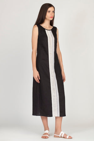 Embroidered Black Linen IBISCUS Dress | by KLOTHO