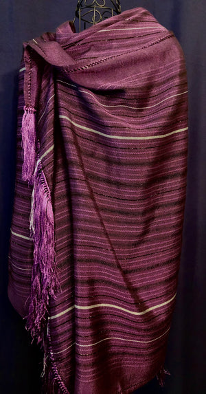LOOM% |  Mauve Handwoven Shawl with Silver Stripes