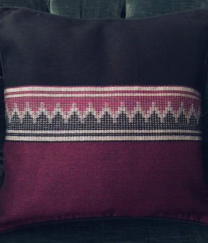 LOOM%  | Handwoven Pillow (Burgundy and black)