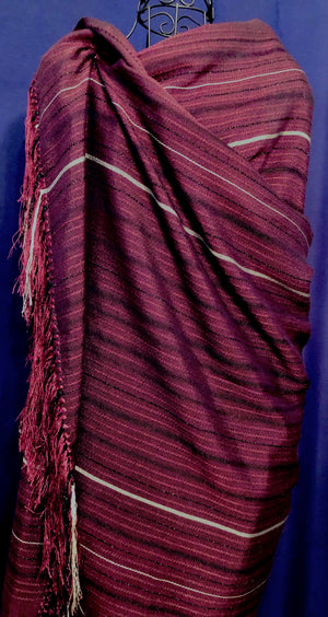LOOM% | cotton and silk shawl silver stripes - Burgundy Wine