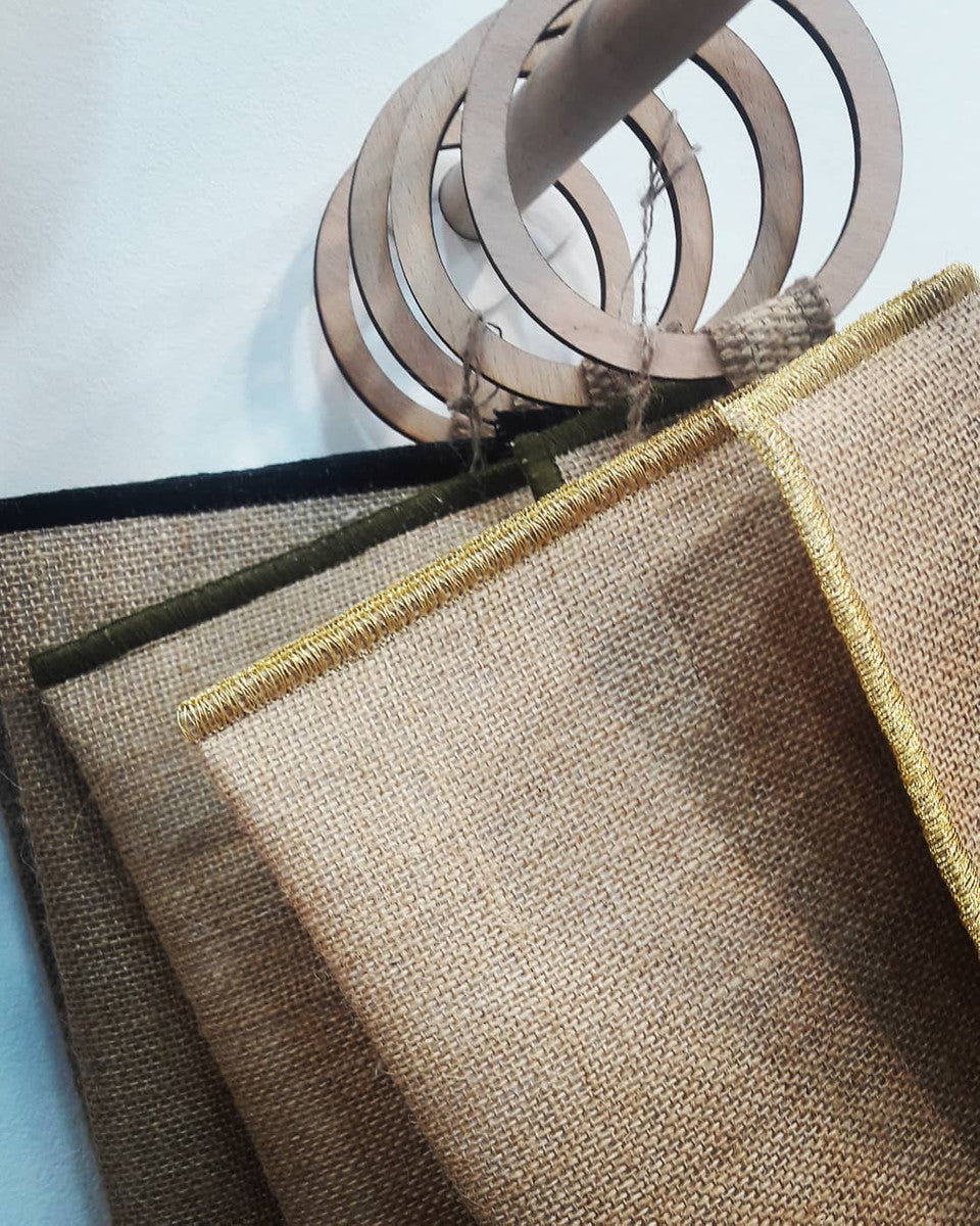 Natural Burlap Linen Clutch Bag with Beechwood Handle | by Myrto Arvaniti