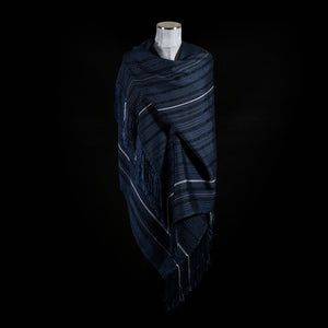Loom% | Teal Blue cotton and silk shawl with silver stripes and knotted fringe