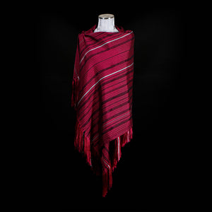 Loom% | Red Handwoven Shawl with Silver stripes and Knotted Fringe