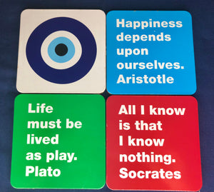 Greek Philosophy and Evil Eye Coasters | THIKI Greece