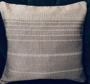 LOOM% | Handwoven Pillow (silver grey with textured stripes)