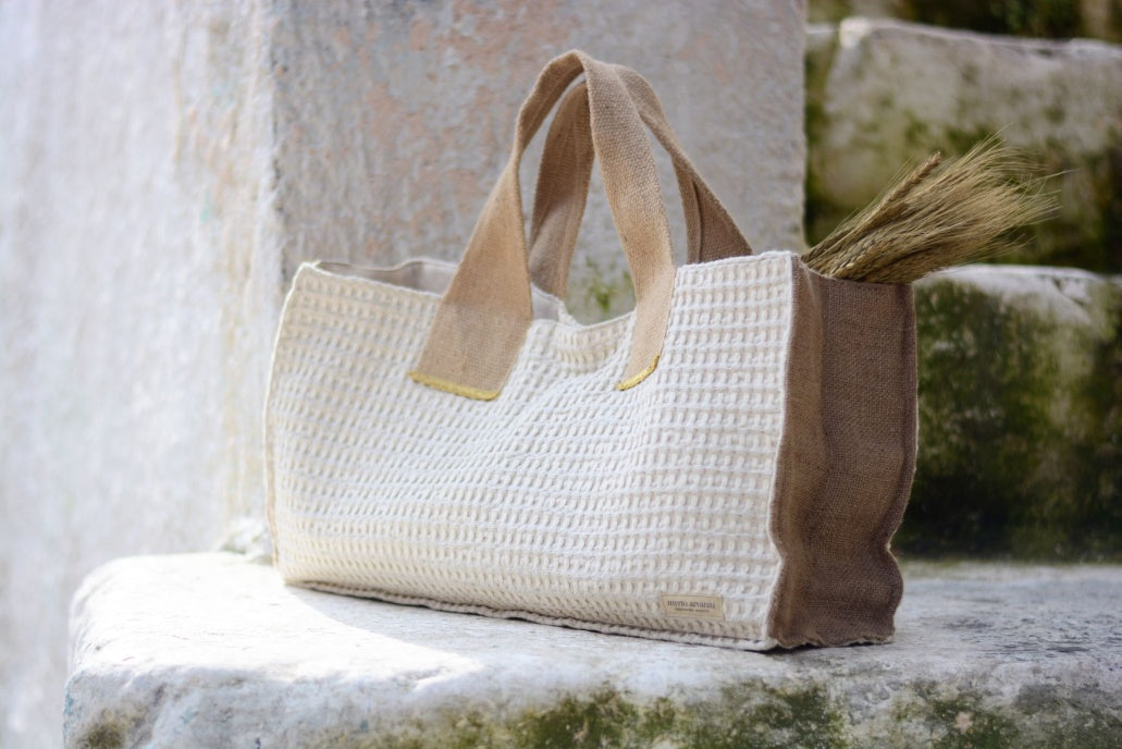 Oversized shoulder bag (linen/cotton)-  by Myrto Arvaniti