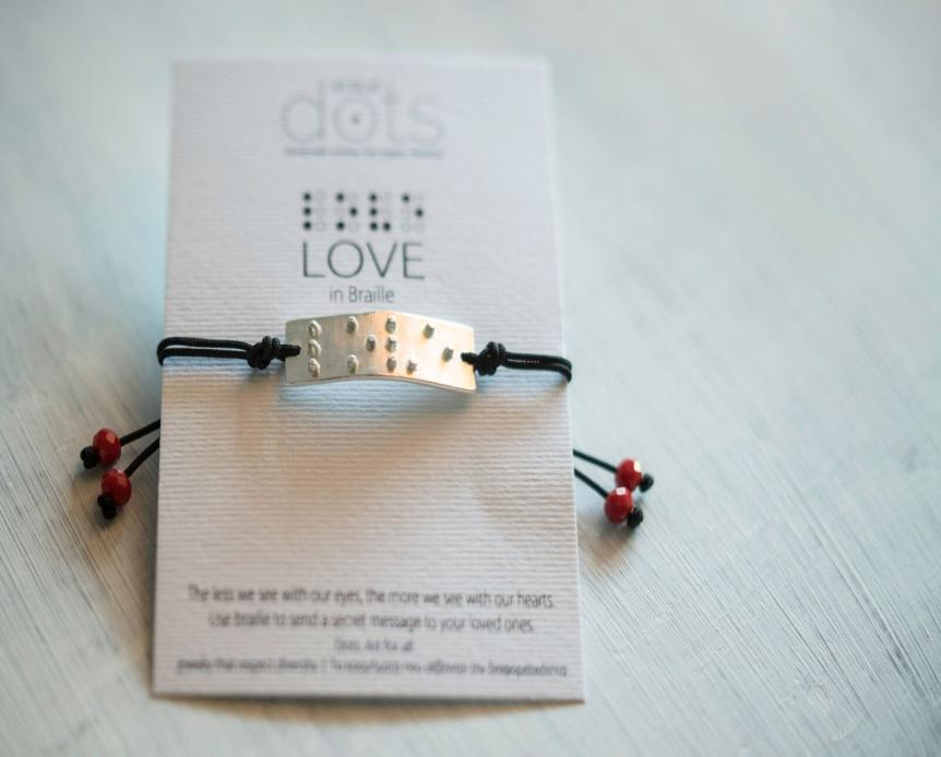 Bracelet LOVE in Braille by Dots. Art for all