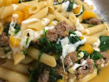 Skillet Pasta with sausage, butternut squash, and spinach