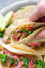 Pork tacos with pickled onions - Gluten Free!